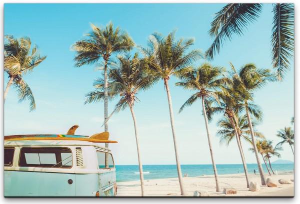 Vintage Auto auf einem tropischem Strand Wandbild in verschiedenen Größen