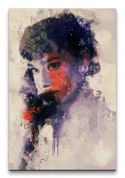 Audrey Hepburn Porträt Abstrakt Kunst Telefon Filmikone Kult 60x90cm Leinwandbild