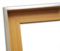 Echtholz Schattenfugenrahmen in braun mit Silberkante schlicht