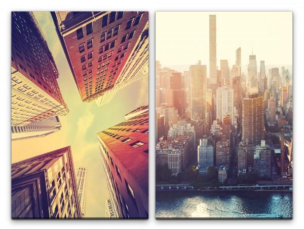 2 Bilder je 60x90cm New York USA Wolkenkratzer Mega City Architektur Skyline Urban