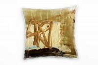 Couch Sofa Lounge Zierkissen in 40x40cm Braun Himmelblau Gold Braunbeige