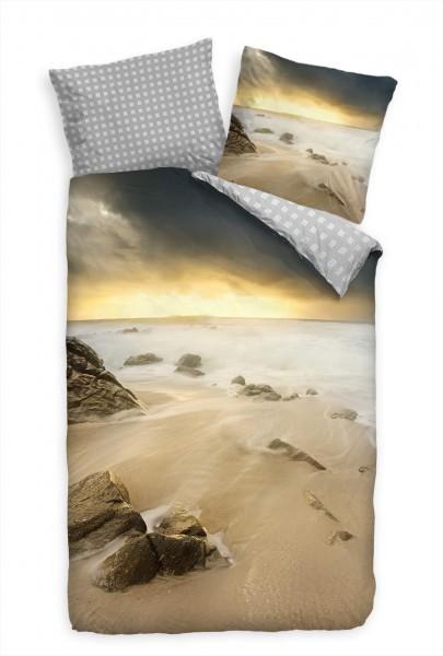 Strand Felsen Bucht Sand Bettwäsche Set 135x200 cm + 80x80cm Atmungsaktiv