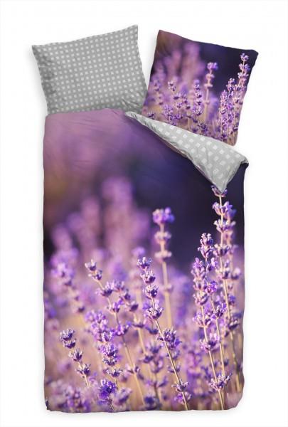 Lavendel Feld Landschaft Lila Bettwäsche Set 135x200 cm + 80x80cm Atmungsaktiv