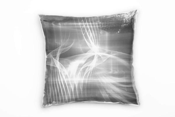 Couch Sofa Lounge Zierkissen in 40x40cm Lichtgrau Quarzgrau Weiß