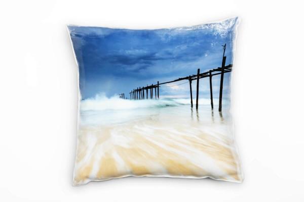 Strand Und Meer Brandung Sturm Blau Orange Deko Kissen 40x40cm