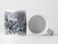 Tasse Geschenk graue Abstraktion, kadettenblau, hellrosa Tupfern
