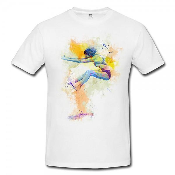Weitsprung I  Herren und Damen T-Shirt Sport Motiv aus Paul Sinus Aquarell