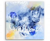 Mächtiges Nashorn in Blautönen mit Kalligraphie