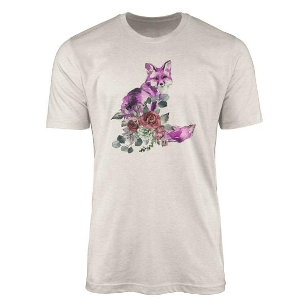 Herren Shirt 100% gekämmte Bio-Baumwolle T-Shirt Aquarell Fuchs Blumen Motiv Nachhaltig Ökomode aus