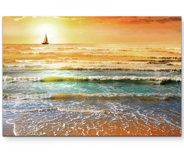Fotografie – Meerblick mit Segelboot bei Sonnenuntergang - Leinwandbild