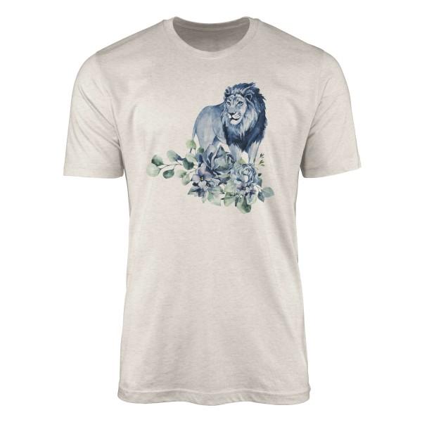 Herren Shirt 100% gekämmte Bio-Baumwolle T-Shirt Aquarell Löwe Blumen Afrika Motiv Nachhaltig Ökomo