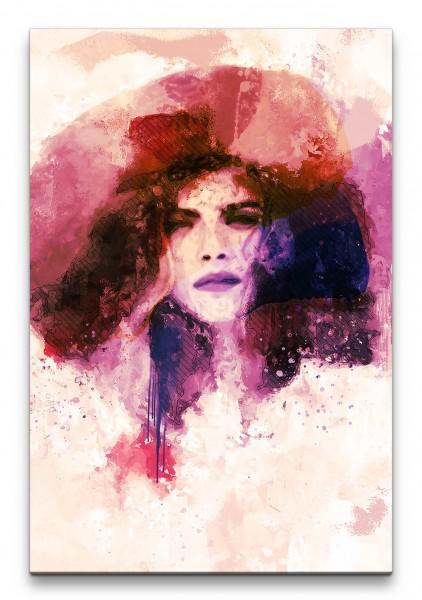 Cara Delevingne Porträt Abstrakt Kunst Model junge Frau Hut 60x90cm Leinwandbild