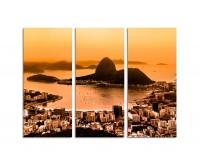 130x90cm Rio de Janeiro von oben Zuckerhut orange