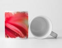 Tasse Geschenk Makroaufnahme rote Blütenblätter