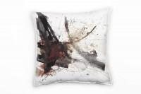 Abstrakt, schwarz, braun, rot, Pinsel, Malerei Deko Kissen 40x40cm für Couch Sofa Lounge Zierkissen