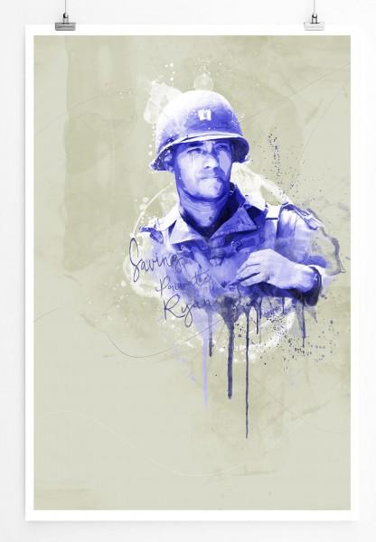 Der Soldat James Ryan 90x60cm Paul Sinus Art Splash Art Wandbild als Poster ohne Rahmen gerollt