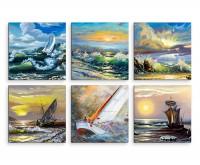 6 teiliges Leinwandbild je 30x30cm -  Ölmalerei Schiff Meer Sturm Wellen