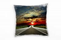 Landschaft, rot, grau, Straße in den Sonnenuntergang Deko Kissen 40x40cm für Couch Sofa Lounge Zierk