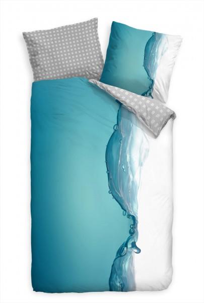Wasser Welle Makro Blau Bettwäsche Set 135x200 cm + 80x80cm Atmungsaktiv