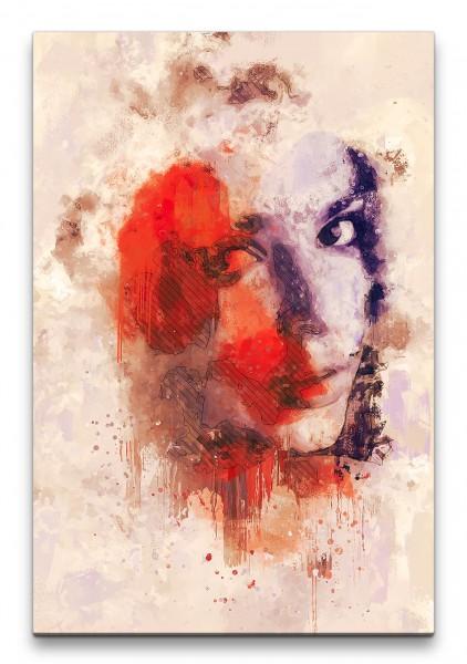 Porträt Abstrakt Kunst junge Frau Farben Schön Feminin 60x90cm Leinwandbild