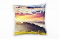 Landschaft, grün, orange, Wald, Sonnenaufgang, Ukraine Deko Kissen 40x40cm für Couch Sofa Lounge Zie
