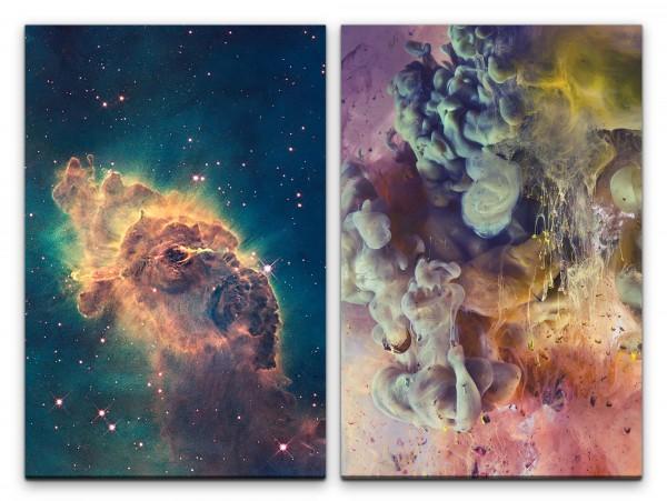2 Bilder je 60x90cm Nebula Nebel Weltall Abstrakt Sterne Kunstvoll Galaxie