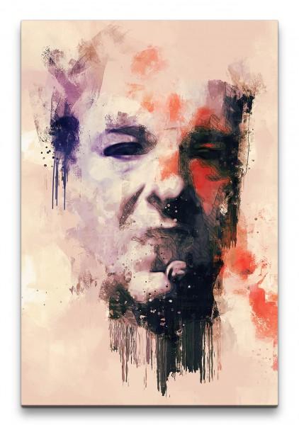 Die Sopranos Tony Porträt Abstrakt Kunst Mafiaboss Zigarre Kultserie 60x90cm Leinwandbild