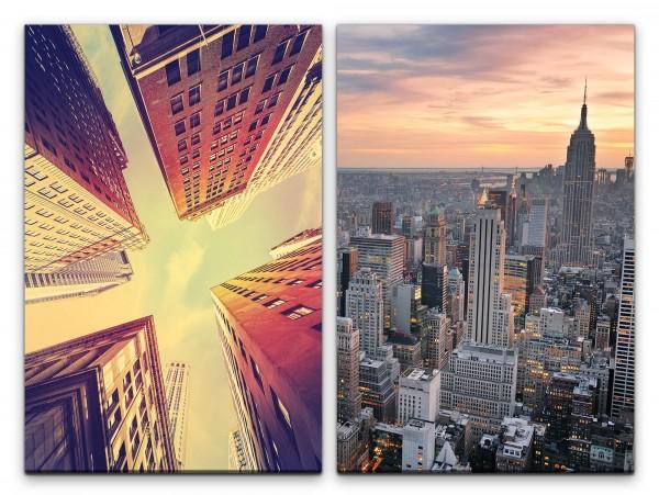 2 Bilder je 60x90cm New York Wolkenkratzer Architektur Großstadt Gebäude Hochhäuser Mega City