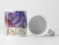 Tasse Geschenk Fossilienähnlicher Abdruck + violett-blaue Kreise