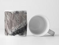 Tasse Geschenk grau, schwarz, japanischen Schriftzeichen