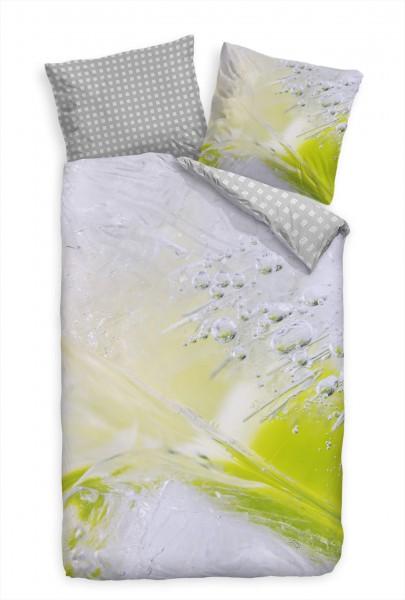 Eis Abstrakt Makro Blasen Grn Bettwäsche Set 135x200 cm + 80x80cm Atmungsaktiv