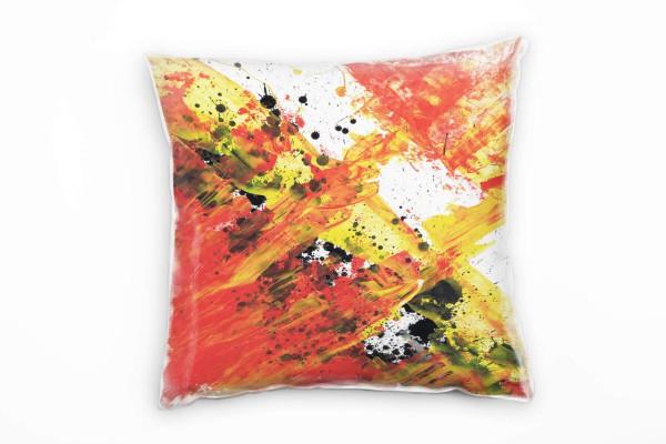 Couch Sofa Lounge Zierkissen in 40x40cm Rot Orange Gelb Tomatenrot Hellgelb