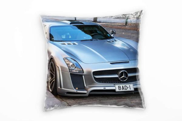 Urban, Mercedes-Benz, Auto, silber, grau, braun Deko Kissen 40x40cm für Couch Sofa Lounge Zierkissen