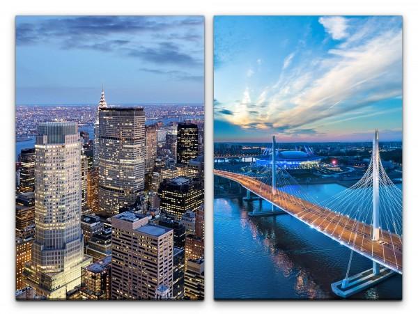 2 Bilder je 60x90cm New York St. Petersburg Brücke Wolkenkratzer Architektur Nacht Skyline