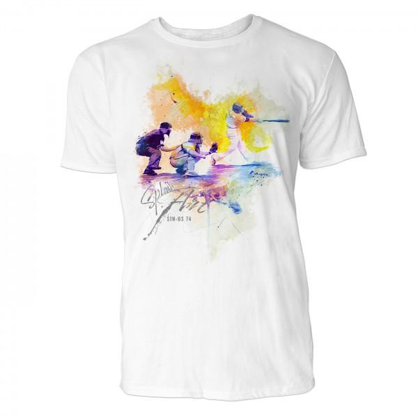 American Baseball Batting Order Lineup Sinus Art ® T-Shirt Crewneck Tee with Frontartwork