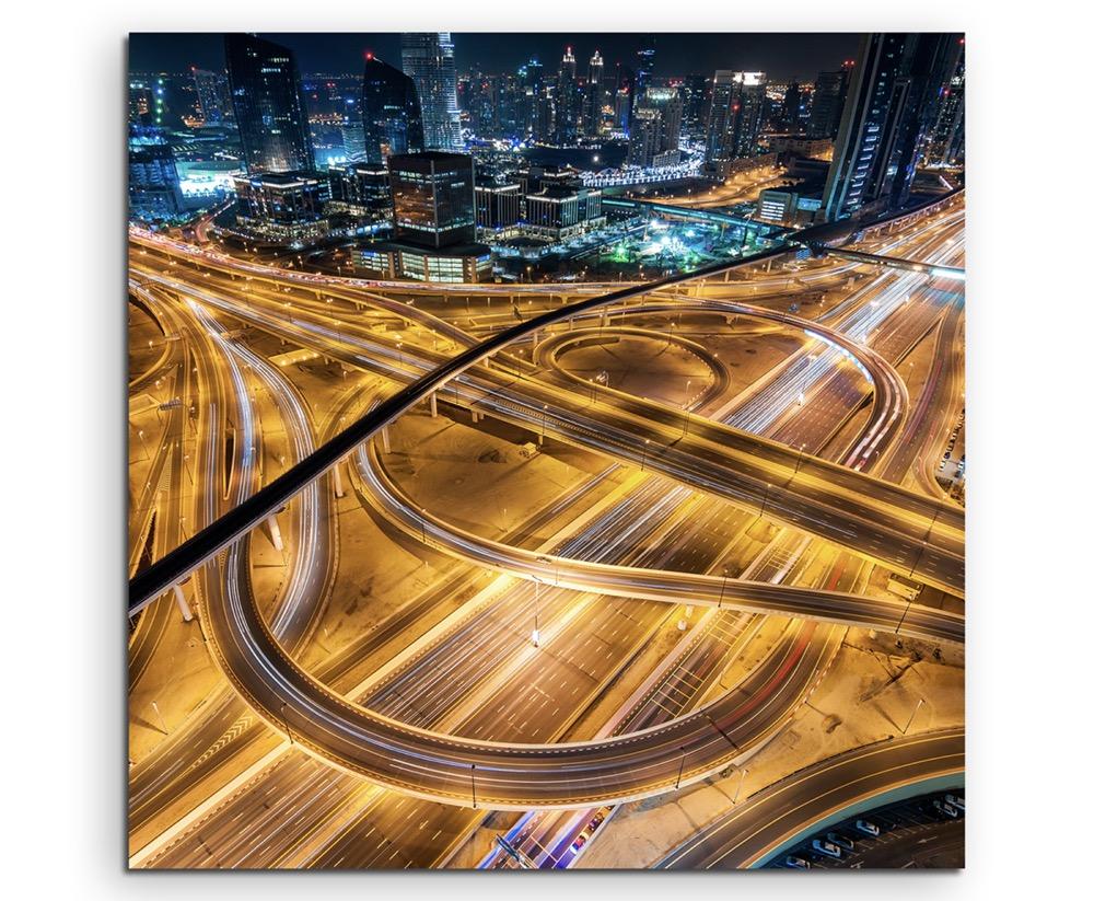 Abu Dhabi auf Leinwand Wandbild Architektur Fotografie Verkehrskreuz mit Autos