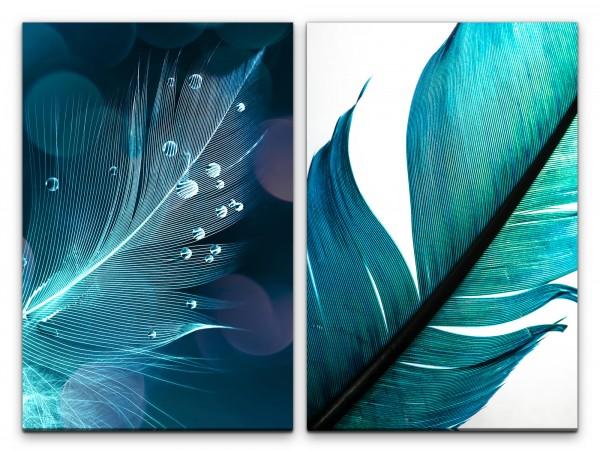 2 Bilder je 60x90cm Federn Tropfen Türkis Nahaufnahme Fotokunst Kunstvoll Makrofotografie