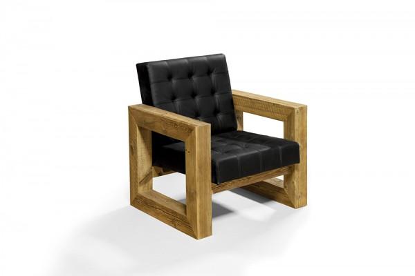 Leder Sessel aus Monza Dacota Büffelleder und einem Massivholzrahmen aus Altholz 77x80x85cm