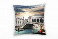City, türkis, braun, gelb, Venedig, Boote, Brücke, Italien Deko Kissen 40x40cm für Couch Sofa Lounge