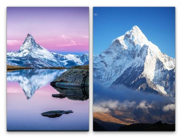 2 Bilder je 60x90cm Matterhorn Alpen Himalaya Schneegipfel See Ruhe Seelenfrieden