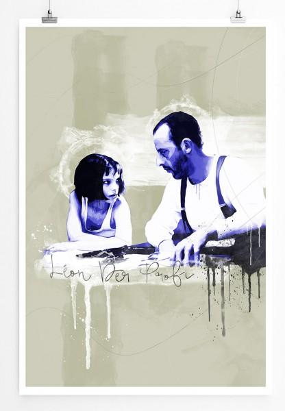 Leon der Profi 90x60cm Paul Sinus Art Splash Art Wandbild als Poster ohne Rahmen gerollt
