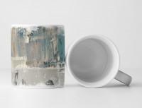 Tasse Geschenk hellgraue Abstraktion, kadettenblauen Streifen