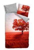 """Herbst Landschaft Rot Feld Bl""""tter Bettwäsche Set 135x200 cm + 80x80cm  Atmungsaktiv"""