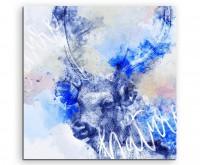 Rentierkopf mit Geweih in Blautönen mit Kalligraphie