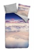 Alpen Panorama Nebel Schnee Wolken Bettwäsche Set 135x200 cm + 80x80cm  Atmungsaktiv