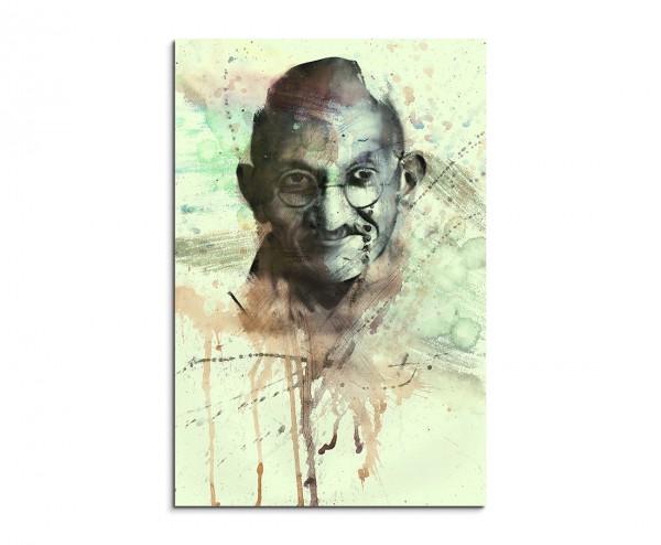 Mohandas Gandhi 90x60cm Aquarell Art Leinwandbild
