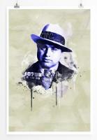 Al Capone 90x60cm Paul Sinus Art Splash Art Wandbild als Poster ohne Rahmen gerollt