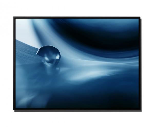 105x75cm Leinwandbild Petrol Makroaufnahme Wassertropfen