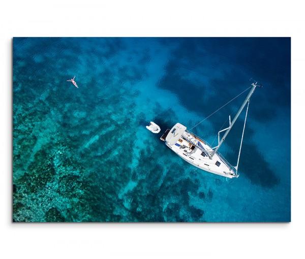 120x80cm Wandbild Karibik Segelyacht Meer Frau