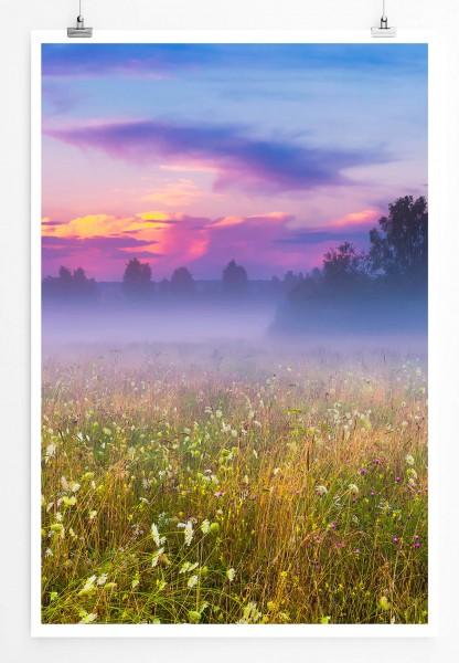 60x90cm Poster Landschaftsfotografie – Wilde Wiese im Morgennebel